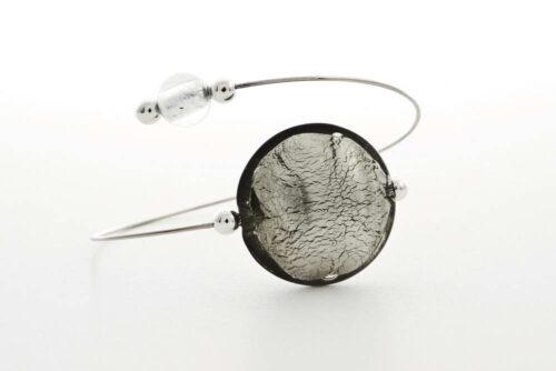 Glass and silver leaf bracelet, silver steel