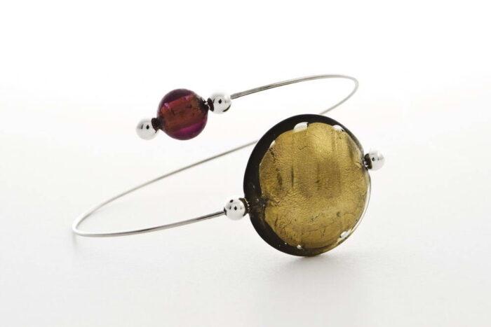 Glass and gold leaf bracelet, steel gold