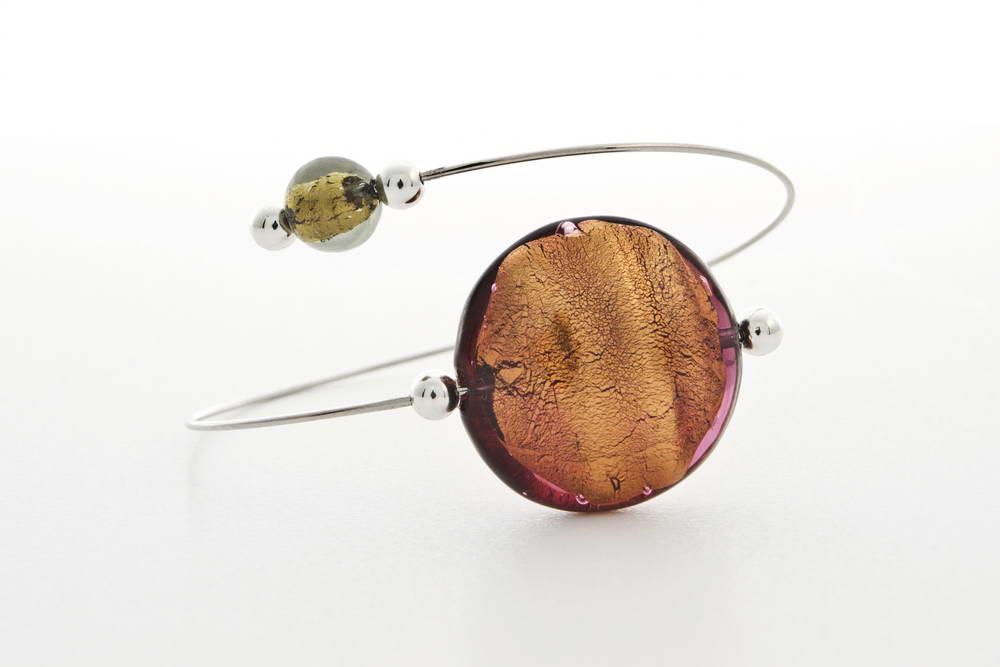 Glass and gold leaf bracelet, bronze