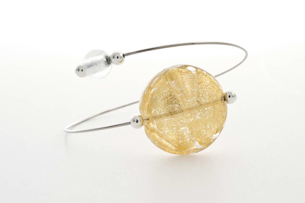 Glass and gold leaf bracelet, crystal gold