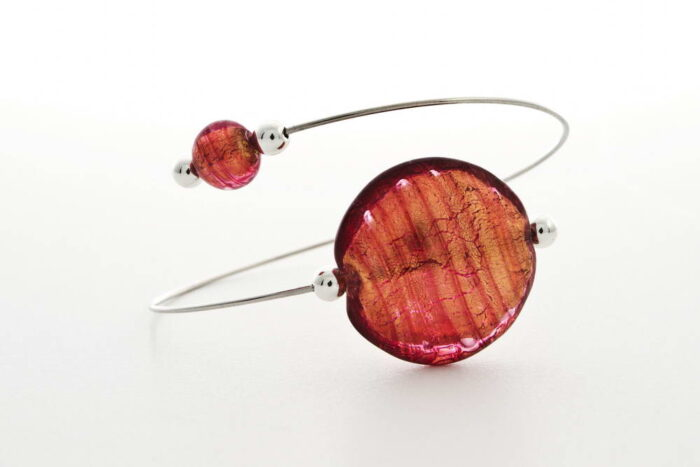 Glass and gold leaf bracelet, pink gold