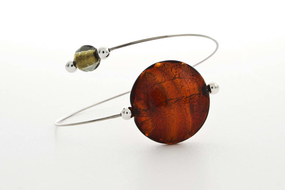 Glass and gold leaf bracelet, dark topaz