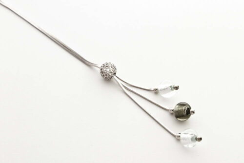 Glass and silver leaf necklace with triple bead, steel silver and crystal silver