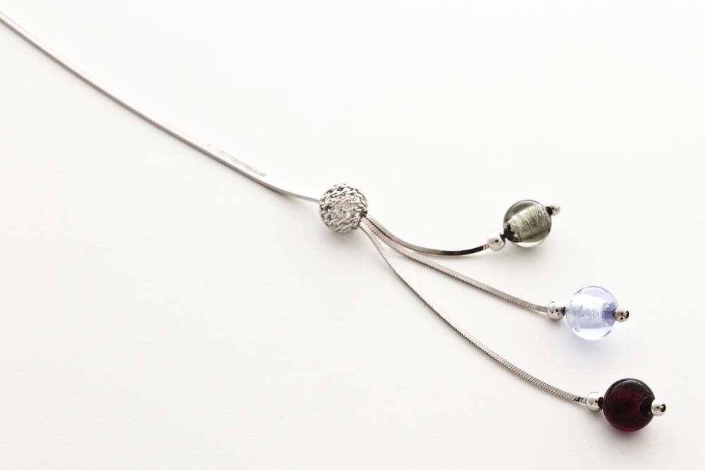 Glass and silver leaf necklace with triple bead, alexandrite, amethist and crystal silver