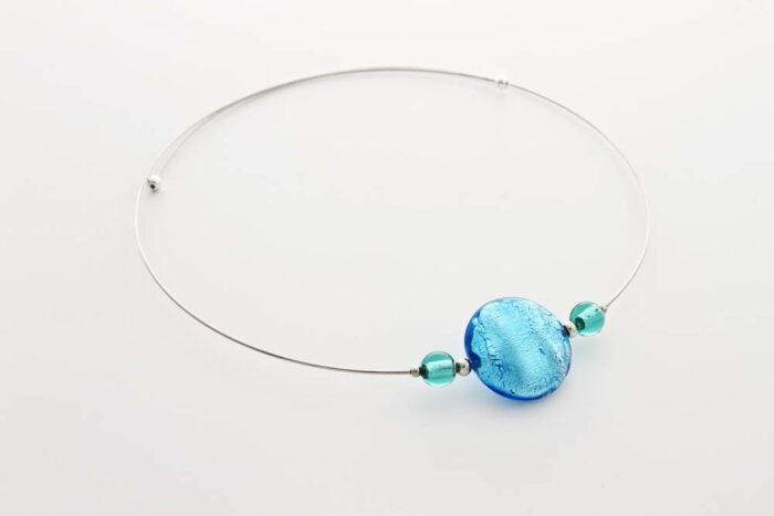 Collana in vetro e foglia argento, turchese