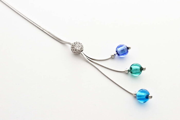 Glass and silver leaf necklace with triple bead, turquoise and sea green