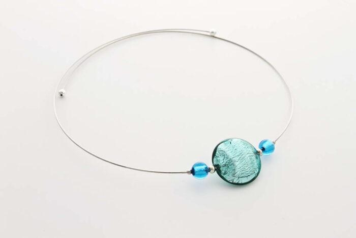 Collana in vetro e foglia argento, verde marino