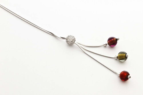 Glass and gold leaf necklace triple bead, steel gold-bronze-dark topaz