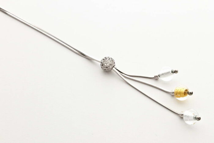 Glass and gold leaf triple bead, crystal silver-crystal gold