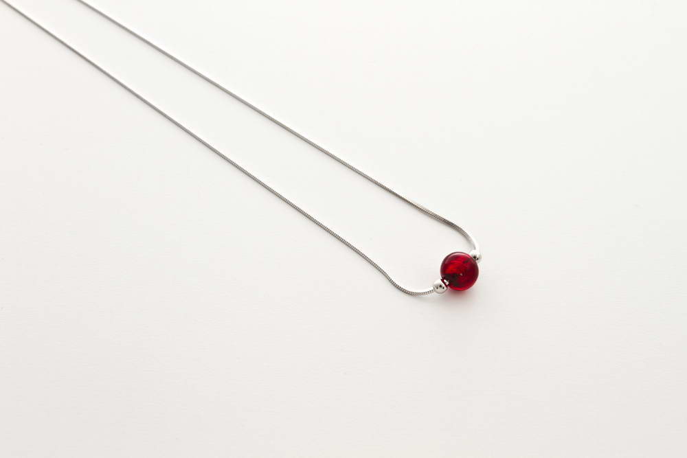 Glass and gold leaf necklace, red