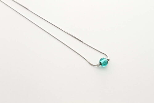 Glass and silver leaf necklace, sea green
