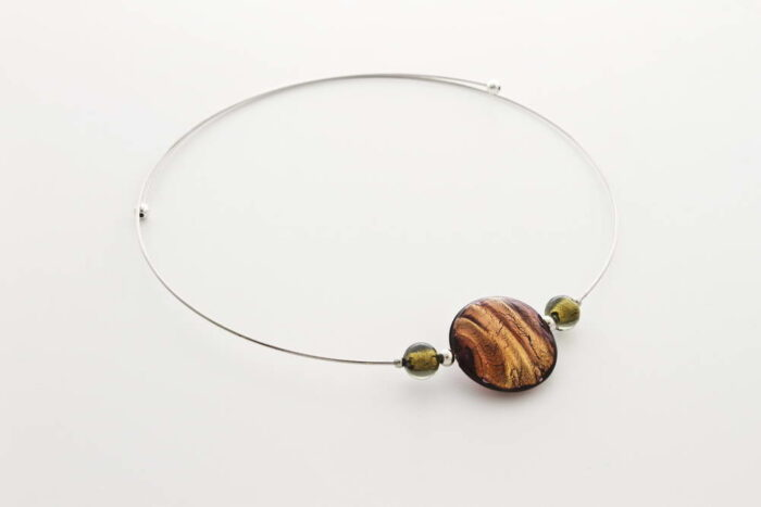 Glass and gold leaf necklace, bronze
