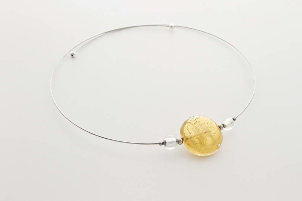 Glass and gold leaf necklace, gold crystal