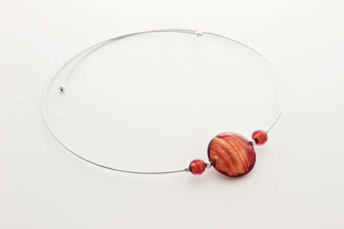 Glass and gold leaf necklace, pink gold