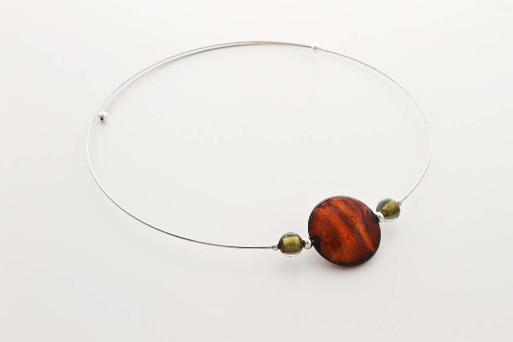 Glass and gold leaf necklace, dark topaz