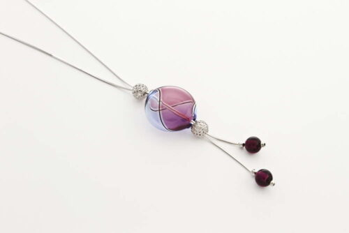 Double bead blown glass necklace, amethyst and bluino