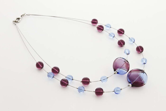 Double blown glass necklace, amethyst and bluino