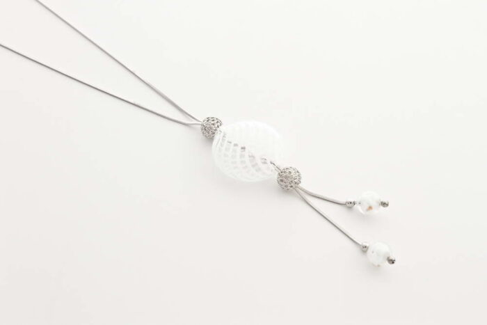 Double bead blown glass necklace, white