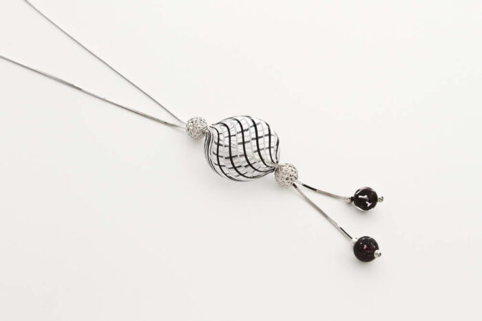 Double bead blown glass necklace, white and black