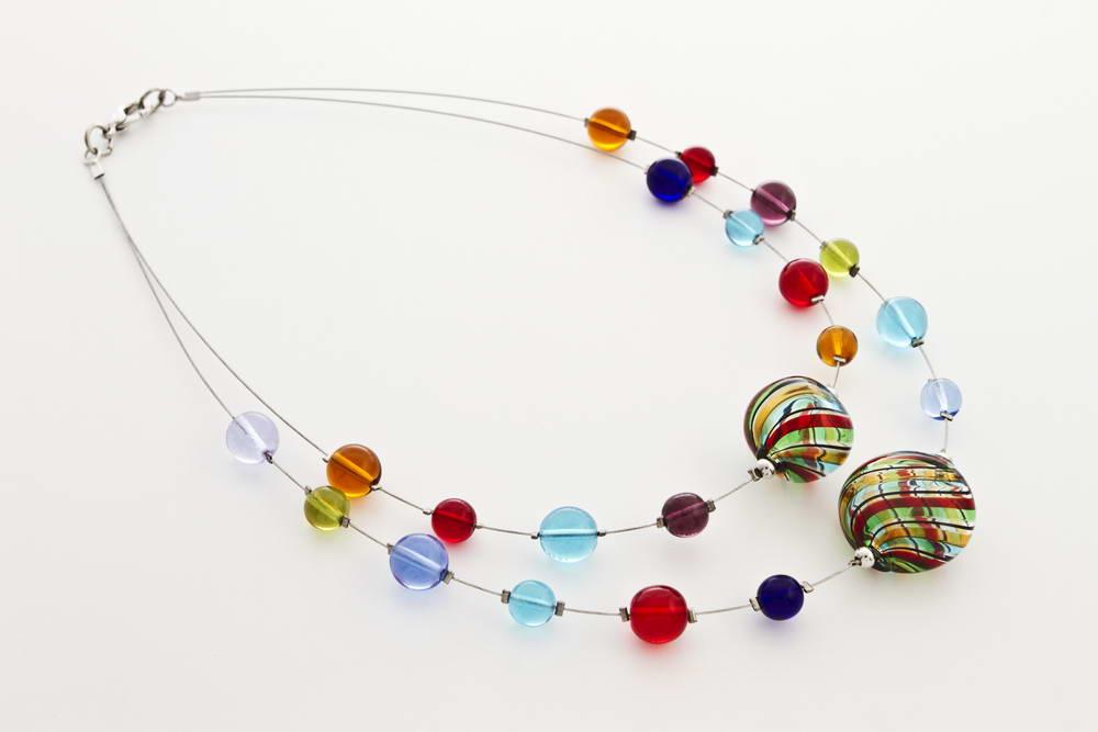Double blown glass necklace, multicolor