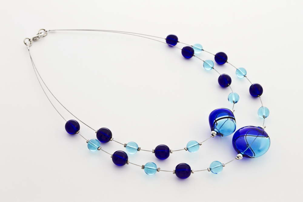 Double blown glass necklace, turquoise and cobalt blue