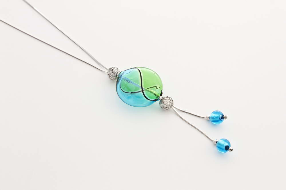 Double bead blown glass necklace, turquoise and green