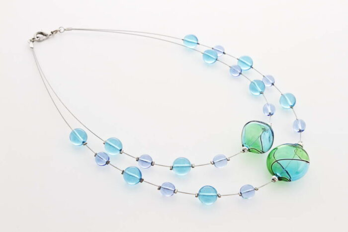 Double blown glass necklace, turquoise and green