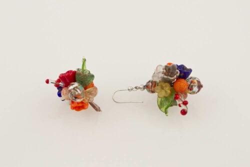 Orecchini avventurina fantasia fiori, multicolore