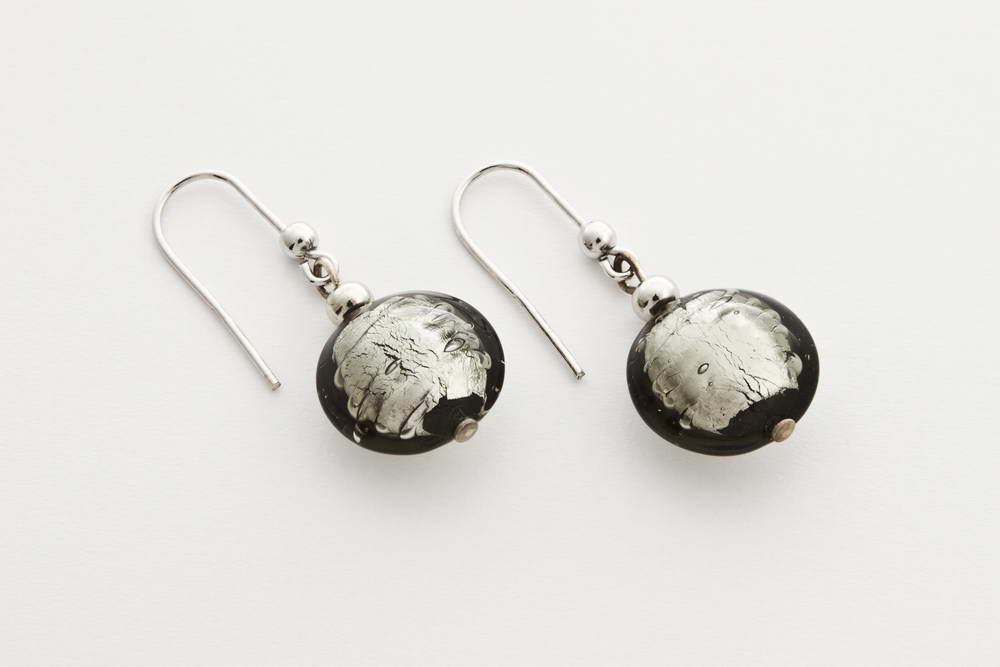 Glass and silver leaf earrings, steel silver