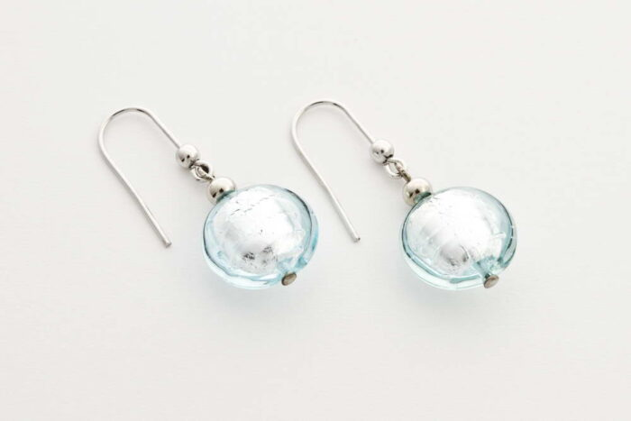 Glass and silver leaf earrings, clear water