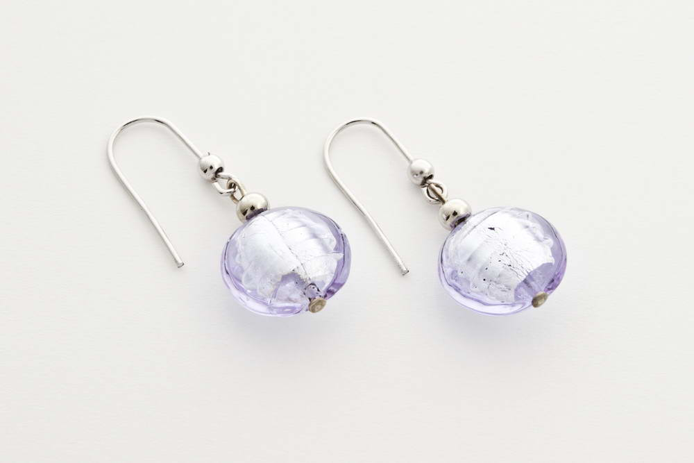 Glass and silver leaf earrings, alexandrite