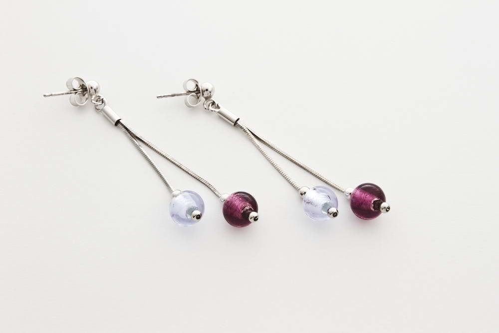 Double glass and silver leaf earrings, amethyst and alexandrite