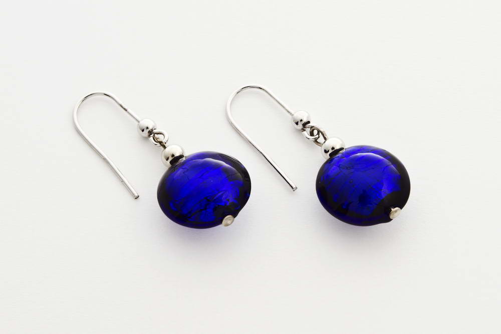 Glass and silver leaf earrings, cobalt blue