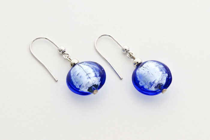 Glass and silver leaf earrings, bluino
