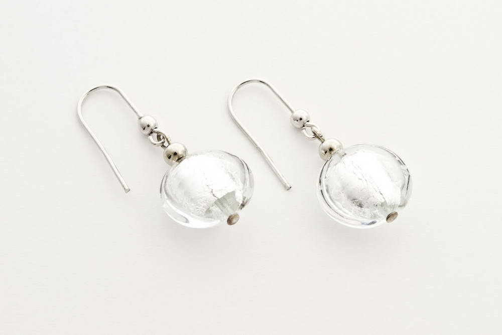 Glass and silver leaf earrings, crystal silver