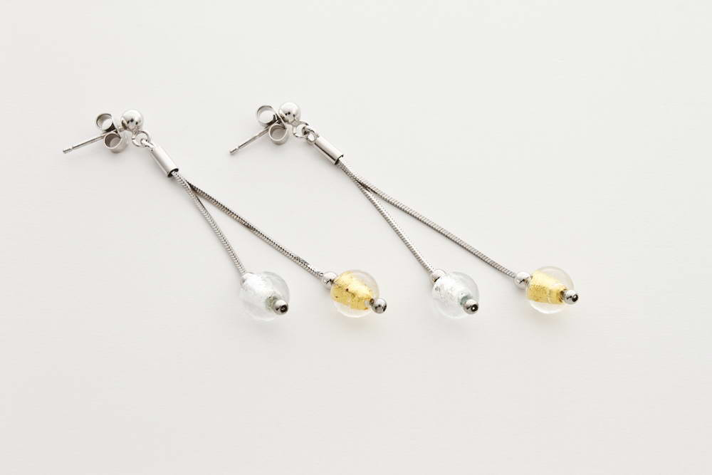 Double glass and silver leaf earrings, crystal silver and crystal gold