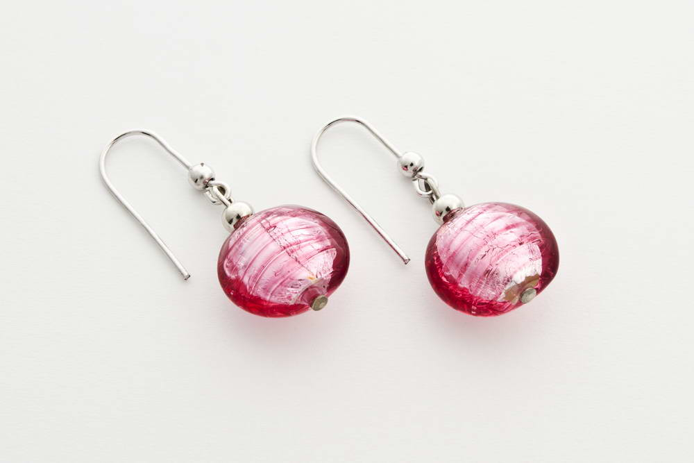 Glass and silver leaf earrings, pink silver
