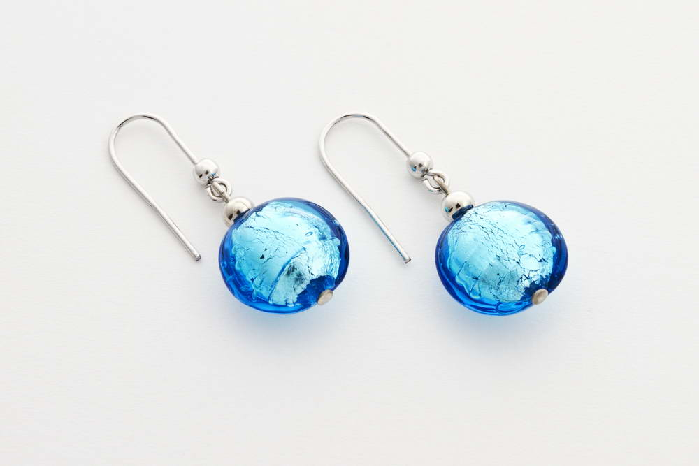 Glass and silver leaf earrings, turquoise