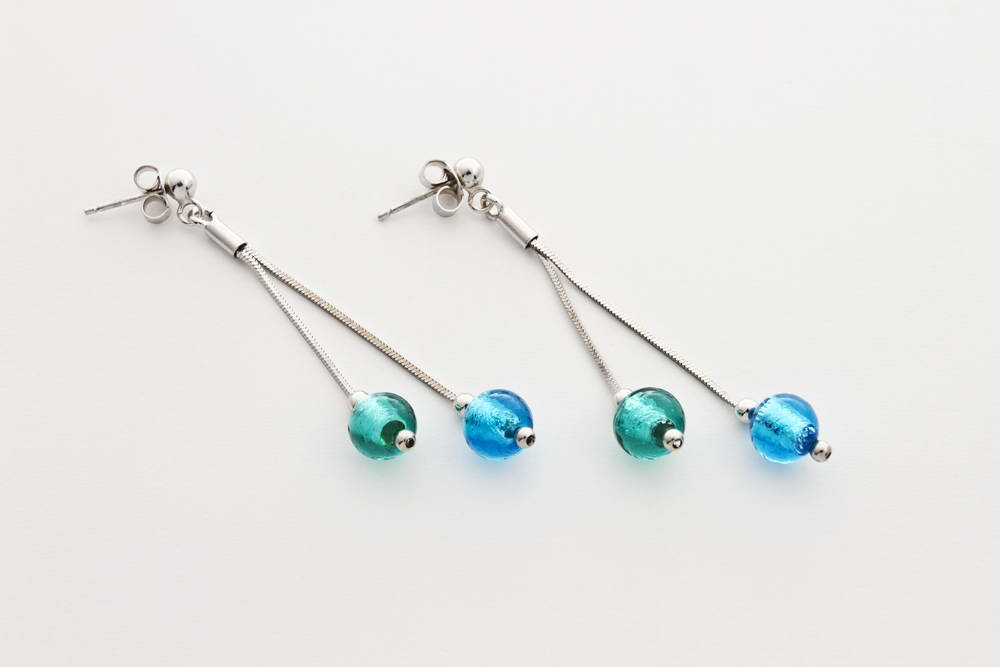 Double glass and silver leaf earrings, turquoise and green