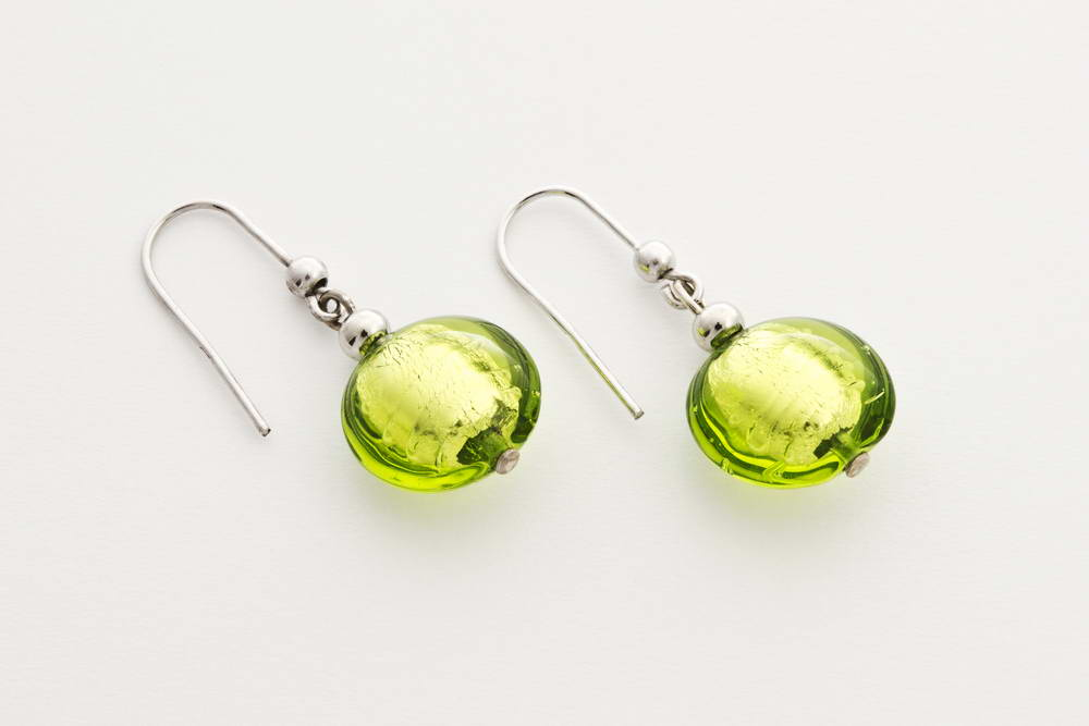 Glass and silver leaf earrings, acid green
