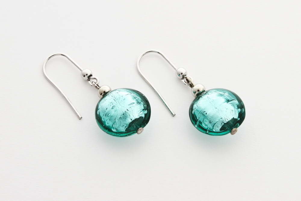 Glass and silver leaf earrings, sea green
