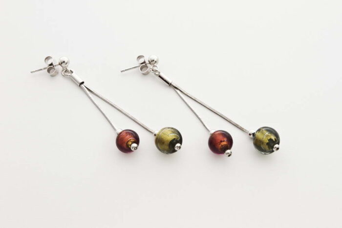 Double glass and gold leaf earrings, gold and steel bronze