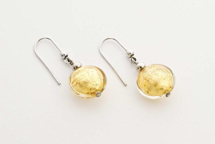 Orecchini in vetro e foglia oro, cristallo oro