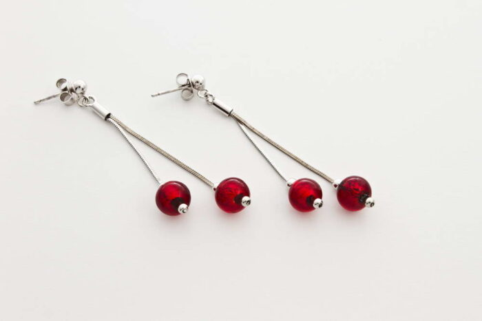Double glass and gold leaf earrings, red