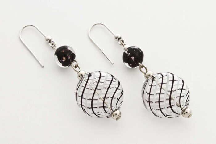 Flat blown glass and aventurine earrings, white and black