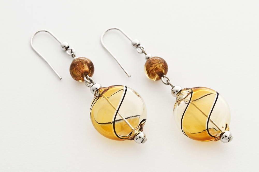 Flat blown glass and aventurine earrings, gaggia and dark topaz