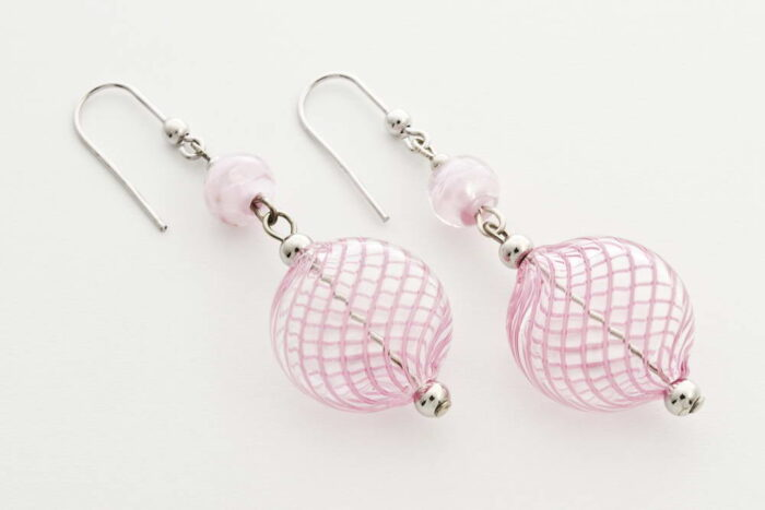 Flat blown glass and aventurine earrings, pink