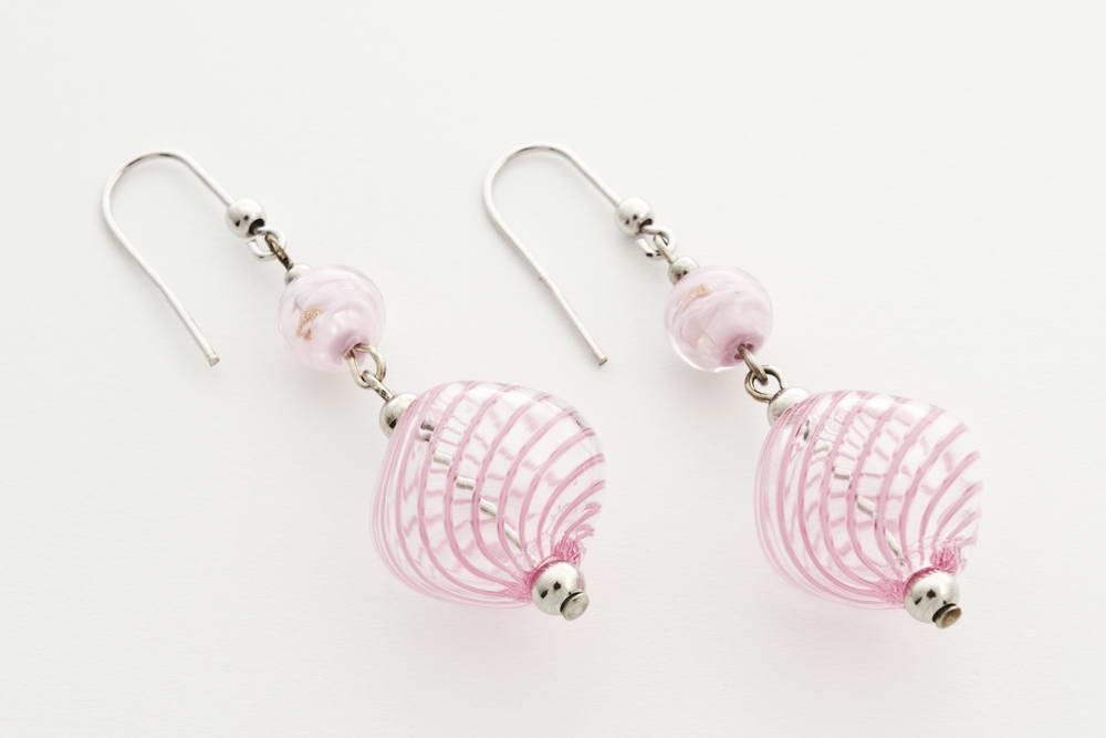 Orecchini in vetro soffiato e avventurina schiacciato, rosa