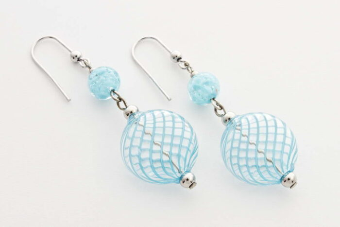 Flat blown glass and aventurine earrings, light turquoise