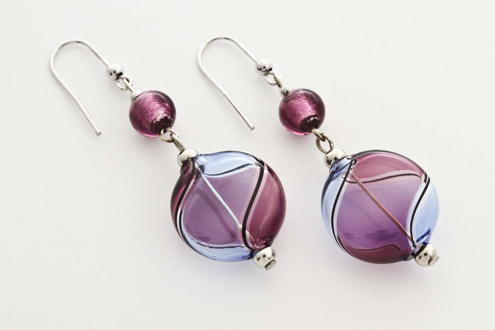 Flat blown glass and silver leaf earrings, amethist and bluino